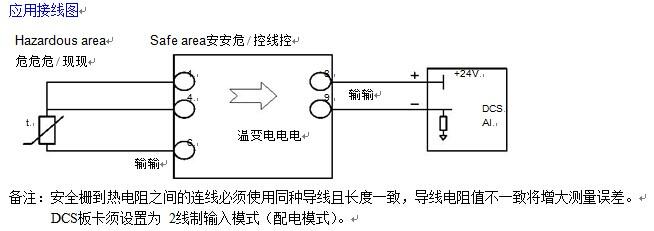 RCB344E热电阻温变隔离栅(回路供电)详细资料 RCB344E热电阻温变隔离栅功能: RCB344E热电阻温变隔离栅接收危险场所的 3 线制 Pt100、Cu50、Cu100、Pt50 或其他类型的热电阻信号,经过线性化处理,变换成与温度成线性的2线制电流信号输出。输出回路供电,不需要独立的工作电源。可在线设置分度号和温度范围。可选1入1出。隔离栅限制从本安端子窜入危险场所的能量,从而确保系统本安防爆。 RCB344E热电阻温变隔离栅型号规格:
